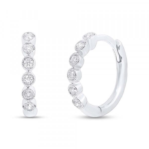 14k White Gold Diamond Bezel Huggie Earrings