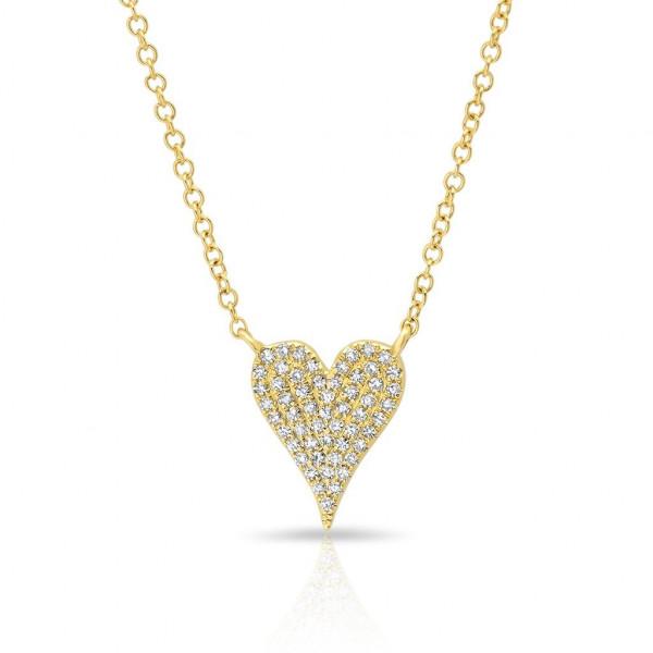 14k Yellow Gold Pave Diamond Pave Heart Necklace