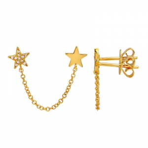 14k Double Star Chain Earring