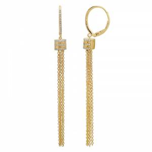 14k Yellow Gold Diamond Tassel earring