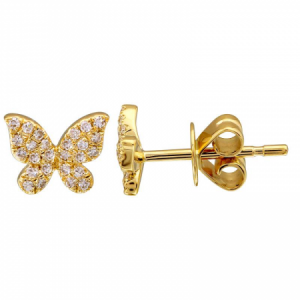 14 Yellow Gold Diamond Butterfly Studs