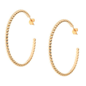 Yellow Gold Ball Hoop Earring