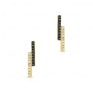 14k Black and White Diamond Bar Stud Earring Yellow Gold