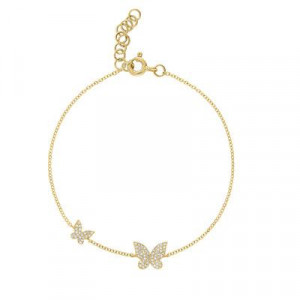 14k Yellow Gold Diamond Butterfly Bracelet