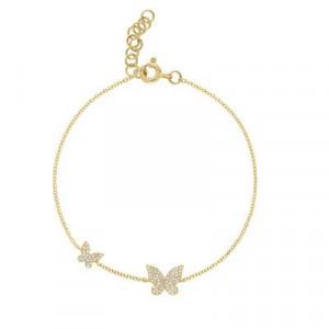 14k Yellow Gold Diamond Butterfly Bracelet