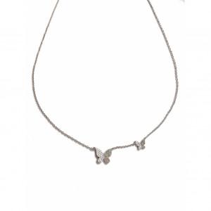 14k Diamond White Gold Double Butterfly Necklace