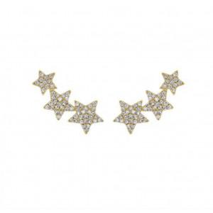 14k Yellow Gold Diamond Star Studs