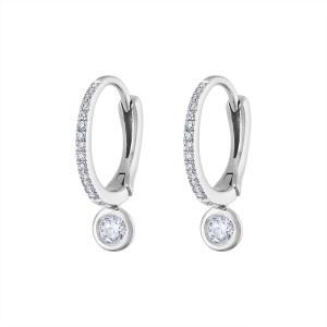 14k White Gold Diamond Huggie w Bezel Set drop Earring