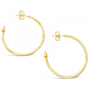 2 1/2 inch Gold Plated Hoops w Sterling Silver post