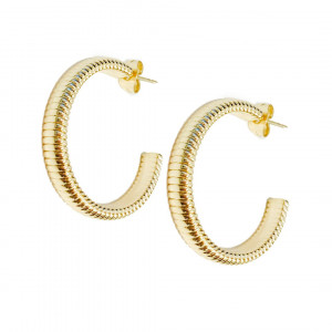 24k Yellow Gold Plated Coil Hoop