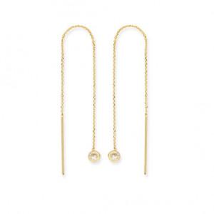 14k Yellow Gold CZ Drop Threader Earrings