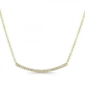 14k Yellow Gold Mini  Diamond Cresent Bar necklace