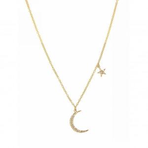 14k Yellow Gold Diamond Moon & Star Necklace