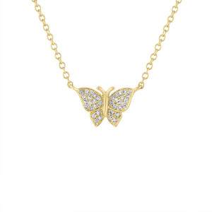 14k Diamond Pave Butterfly Necklace