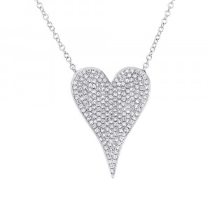 14K White Gold Diamond Pave Heart Necklace