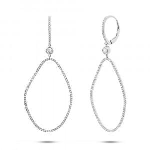 14k White Gold Organic Shape Diamond Earrings