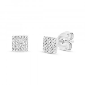 14k White Gold Pave Diamond Square Studs