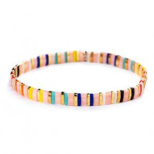 Candy Beaded Bracelet - Pink Rainbow