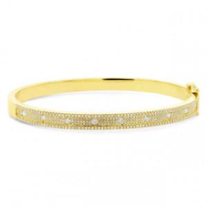14k Yellow Gold Pave Diamond Bangle
