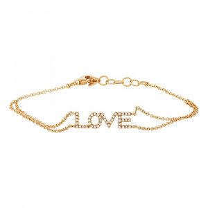 14K Yellow Gold Diamond 'LOVE' Bracelet.