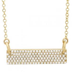 14k Yellow Gold Diamond Pave Bar Necklace