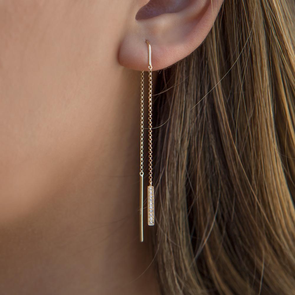 14k Yellow Gold Diamond Bar Threader Earrings