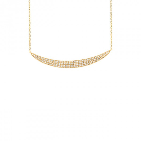 14k Yellow Gold Pave Diamond Crescent Necklace